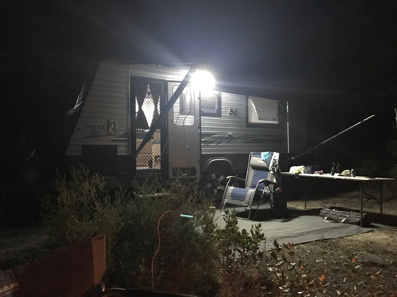 Coffin Bay camp at night