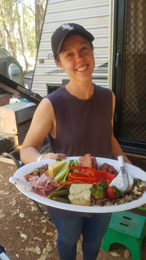 Erin with the amazing cheese platter, Boranup WA