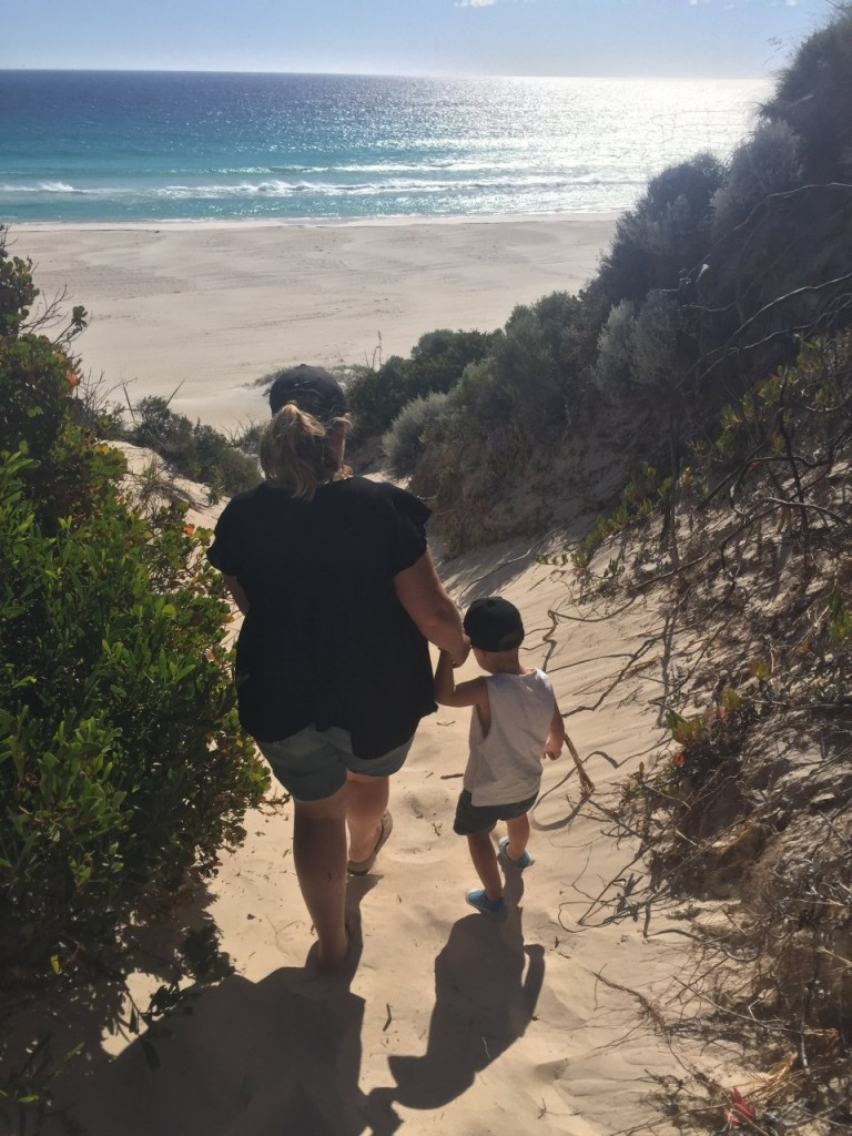 Nanny and Haim tackling the sand dune together at Boranup Beach
