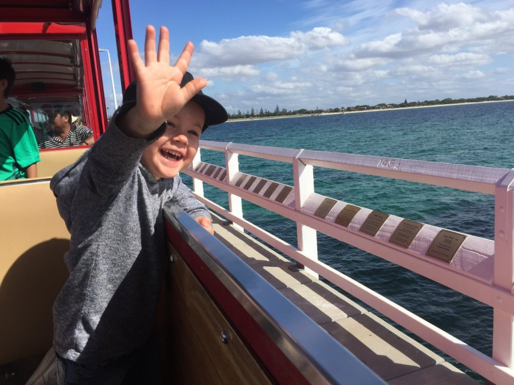 The moment when Hamish saw his Dad and Grandad from the train, Bussleton Jetty WA