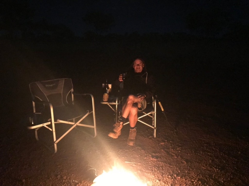 Col by the campfire at Hammersley Gorge Free Camp, Karijini National Park WA