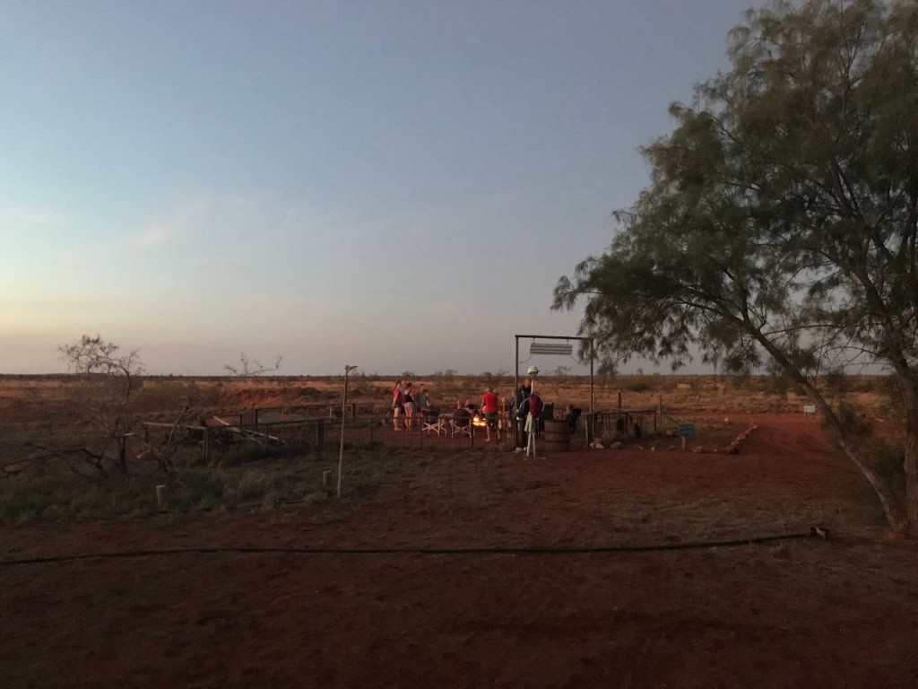 First campfire of the season, Giralia Station Stay WA