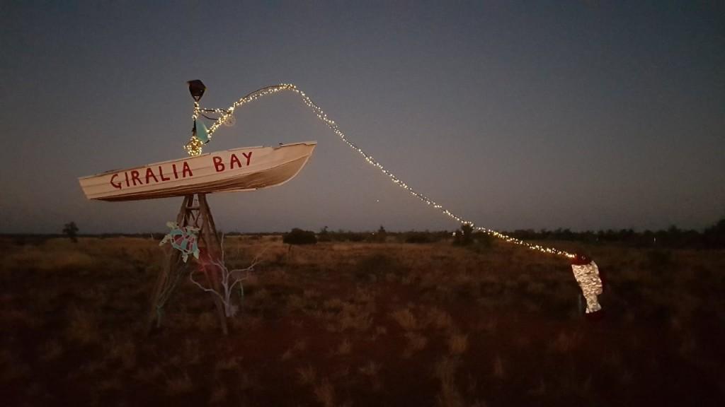 Giralia Sign lit up at night, Giralia Station Stay WA