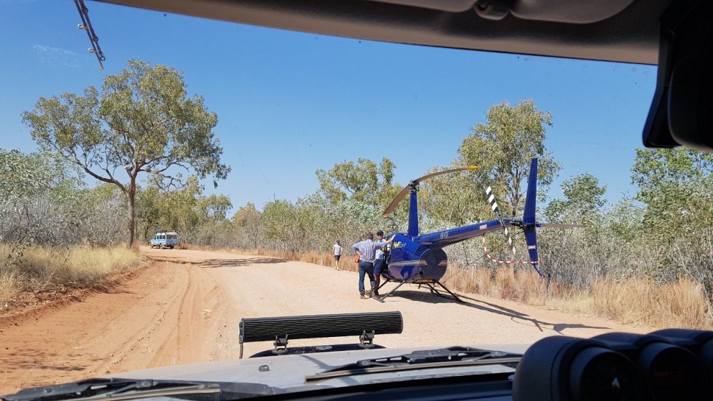 Helicopter on the road, Bungle Bungles, Purnululu National Park WA