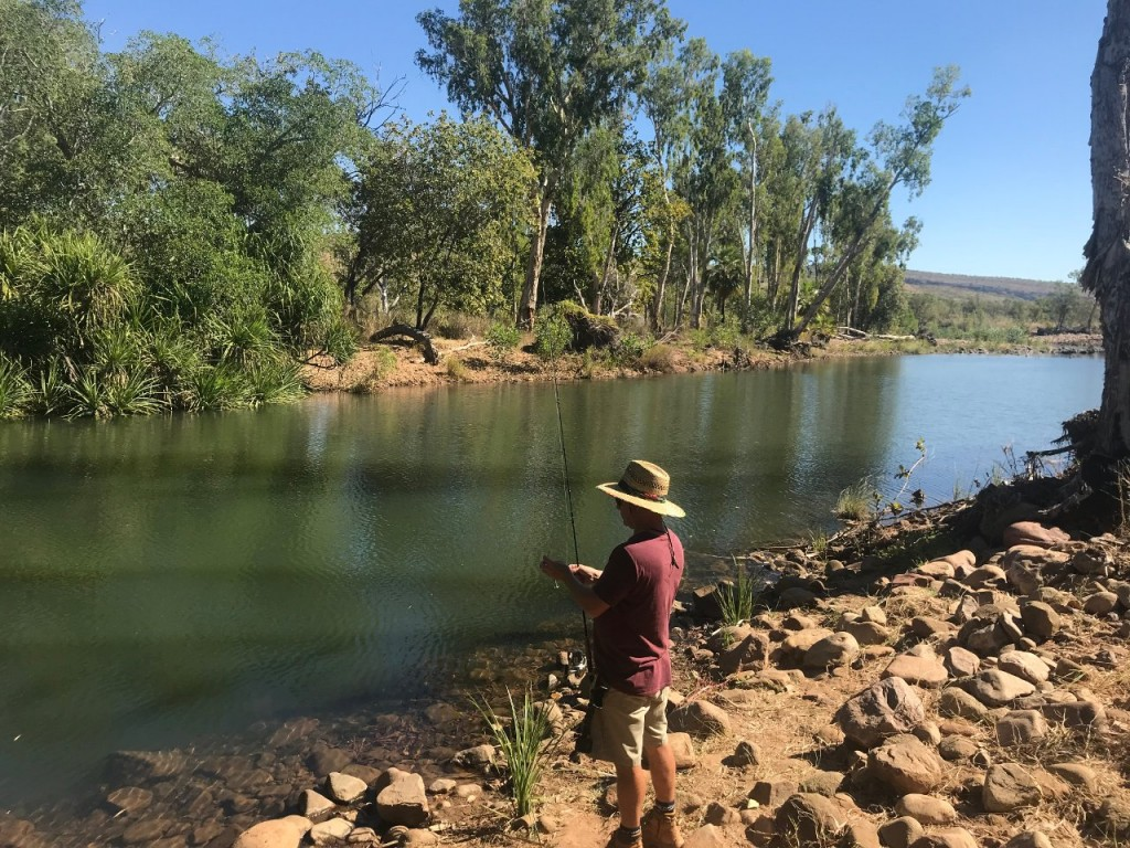 Col fishing at Jackaroo's Waterhole, El Questro WA