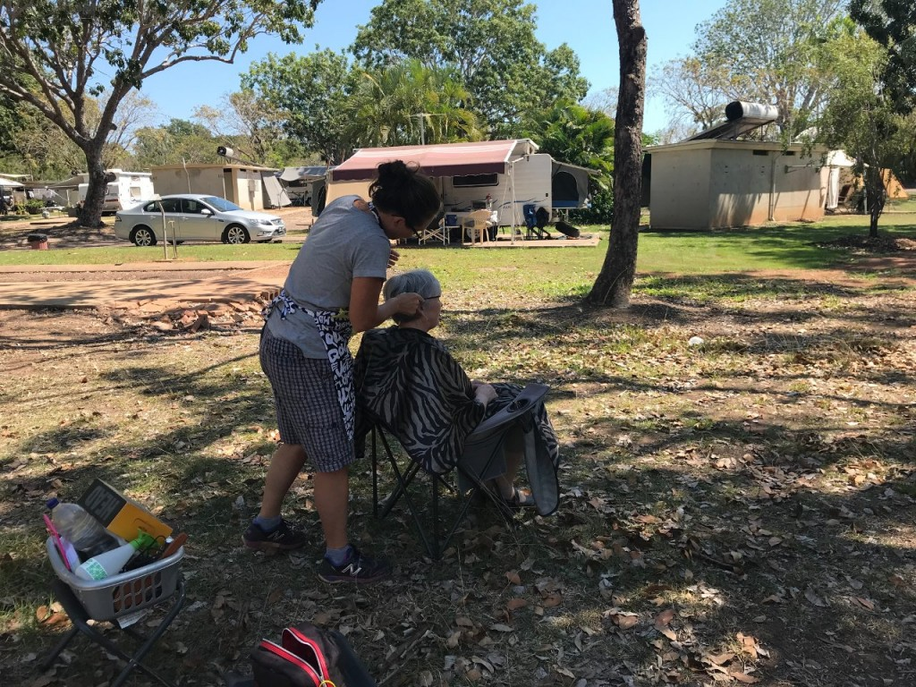 Mum getting her Haircut at Lee Point, Darwin NT