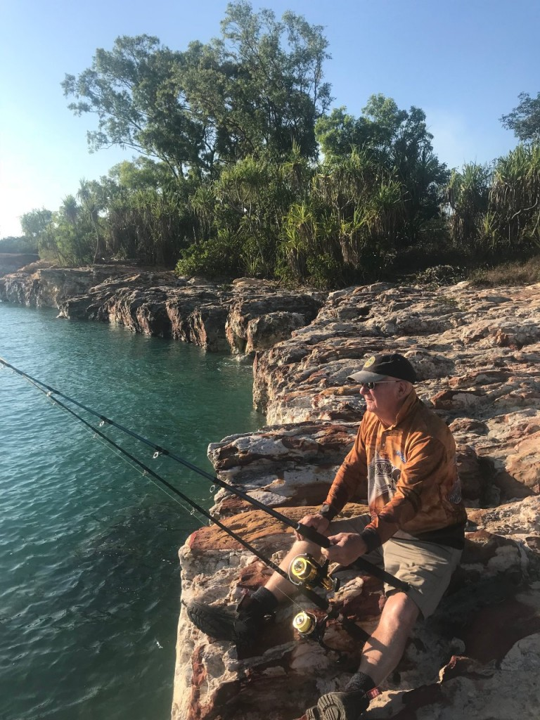 Dave fishing East Point, East Point Reserve, Darwin NT