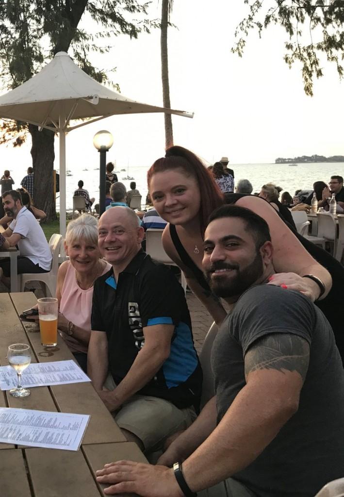 Dee, Col, Kat and Angry at the Sailing Club, Darwin NT