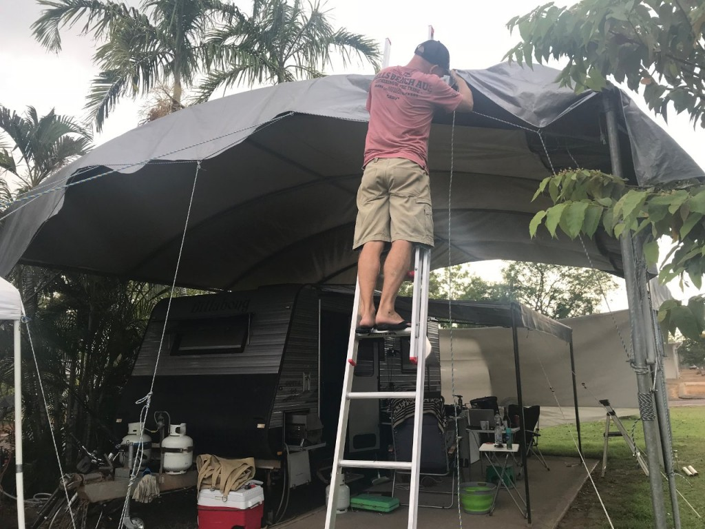 Col sorting out the Tarp, Lee Point, Darwin NT