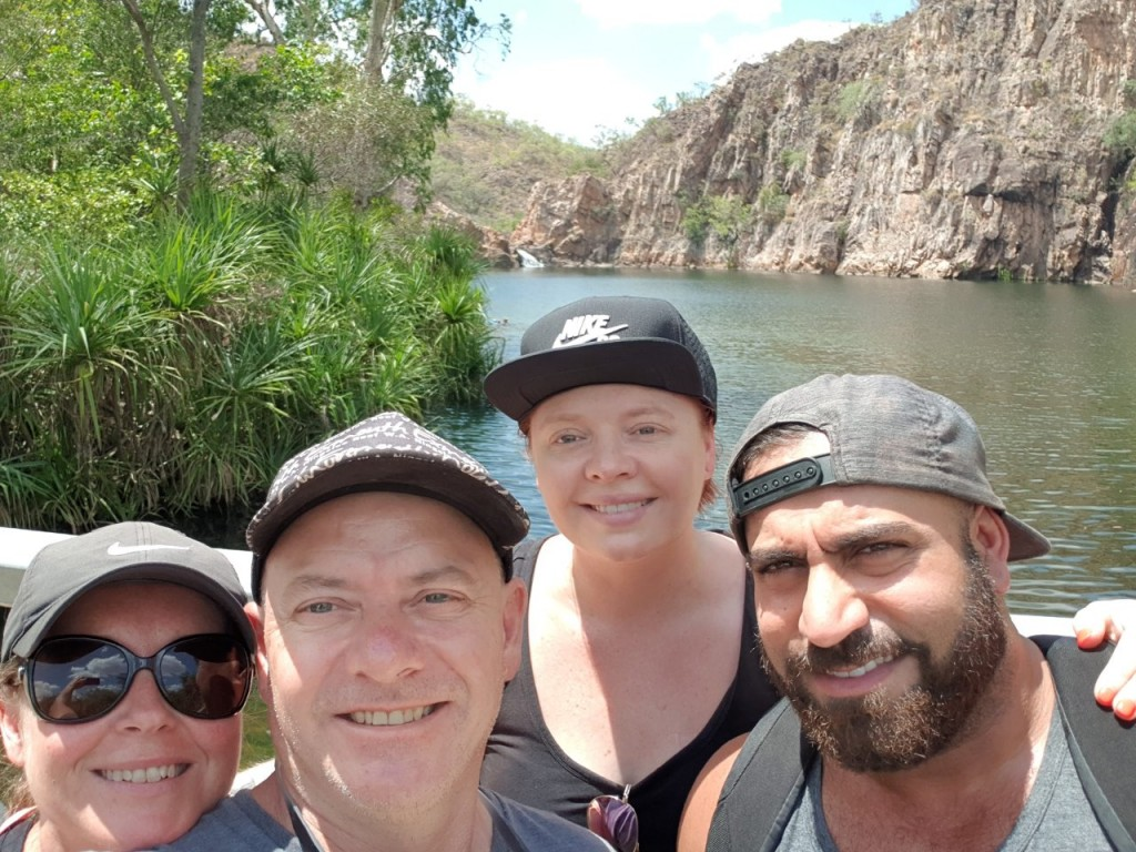 Kris, Col, Kat and Angry at Leliyn (Edith) Falls, Nitmiluk National Park NT