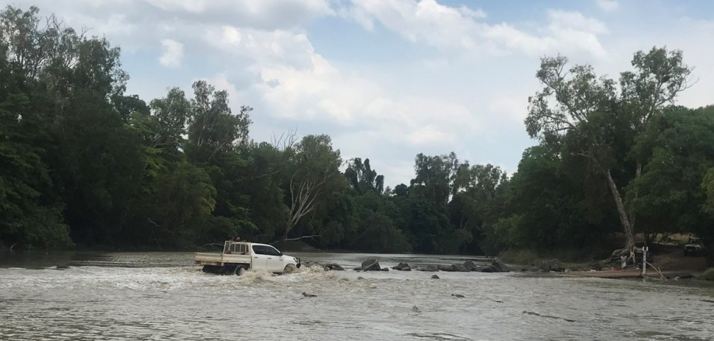 You can see four big crocs in the water watching this car cross, Cahill's Crossing, Kakadu NT