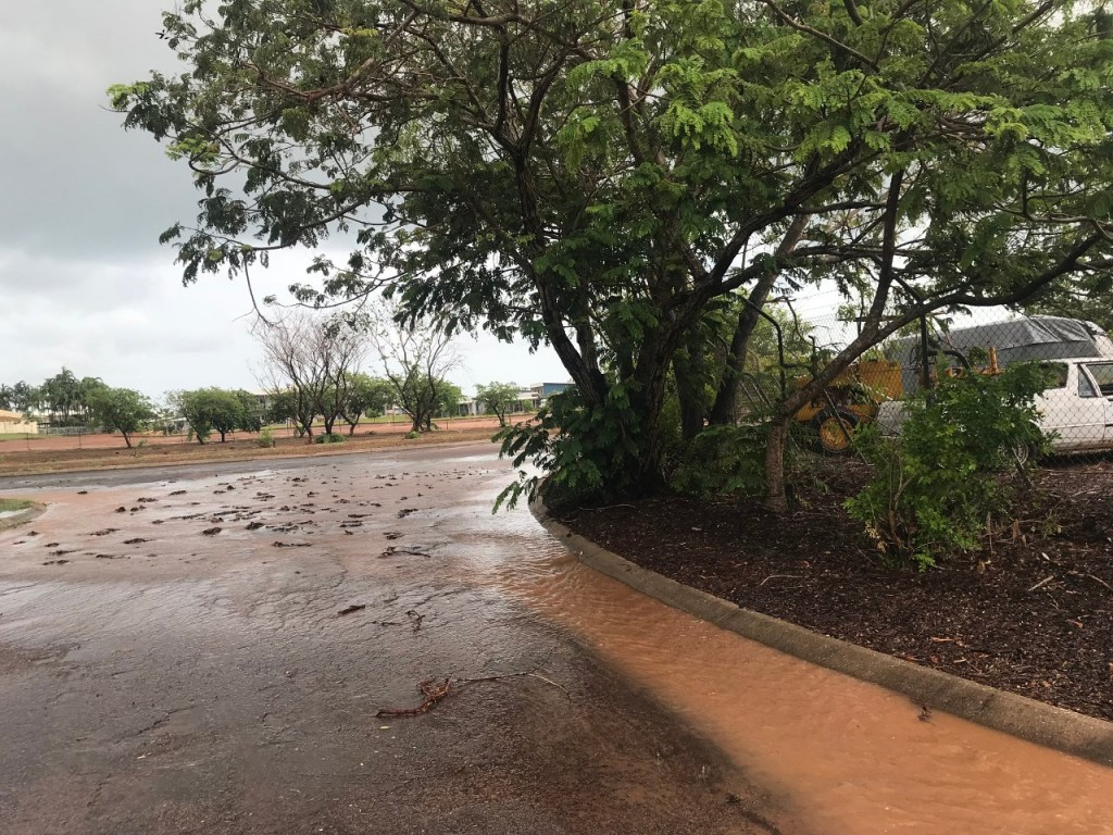 Flooded roads at the Lee Point Caravan Park, Darwin NT