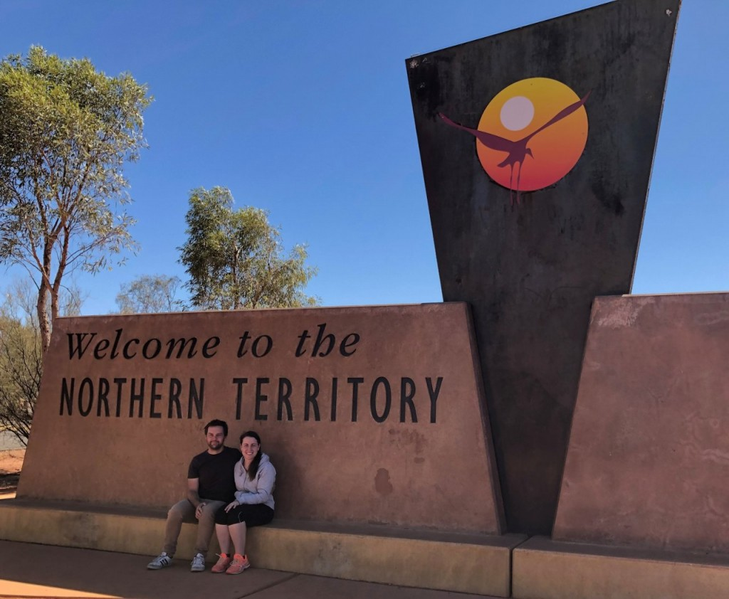 Sam and Steff at the Northern Territory border