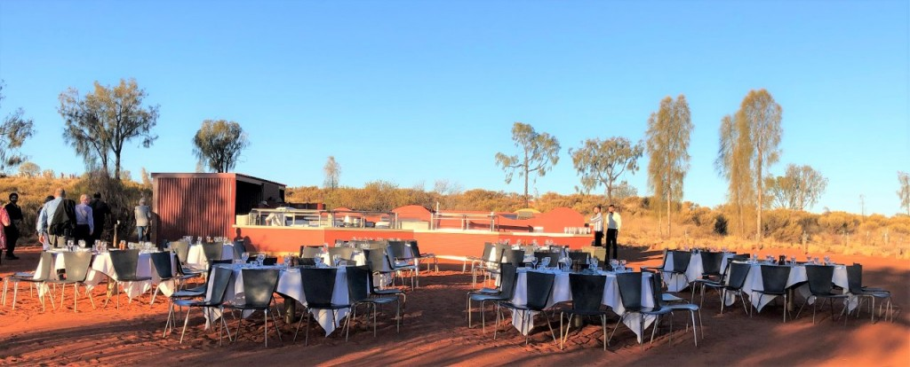 Tables ready for the Sound of Silence Dinner, Uluru NT