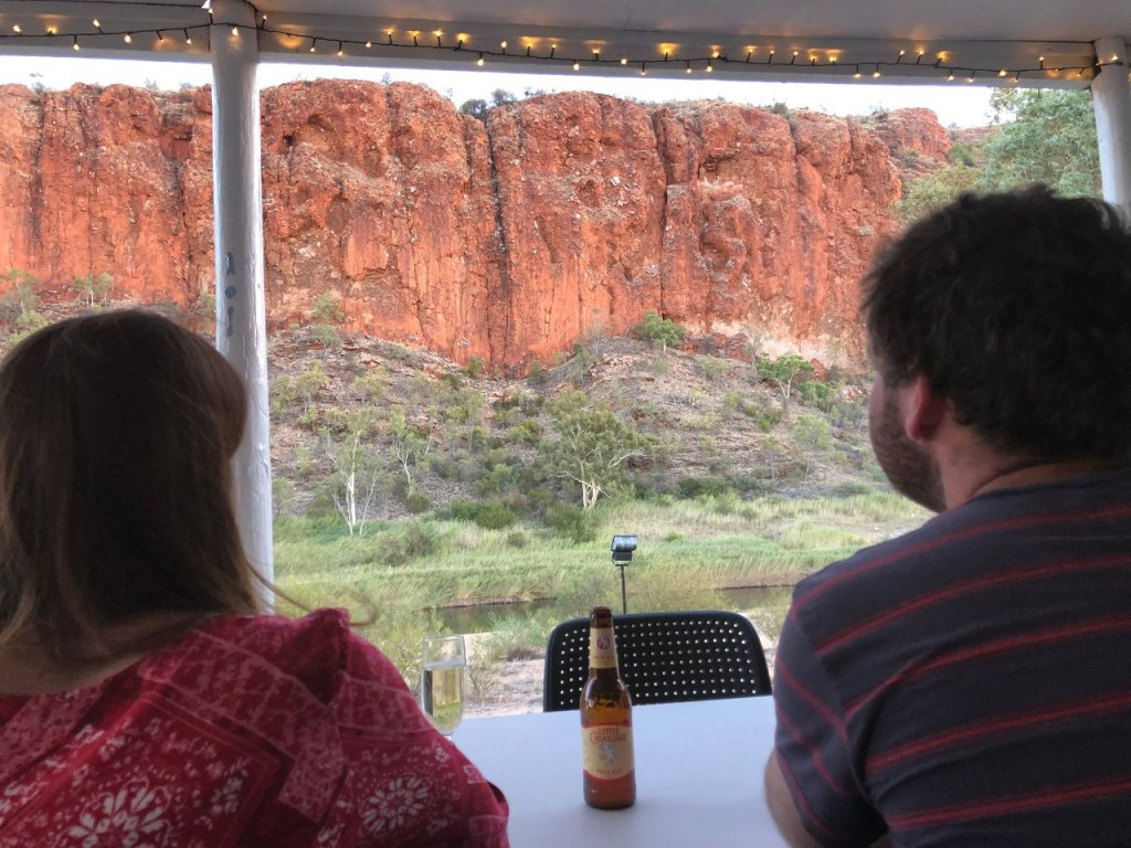 The beautiful Glen Helen Gorge was our view at dinner, Glen Helen Lodge, West McDonnell Ranges NT