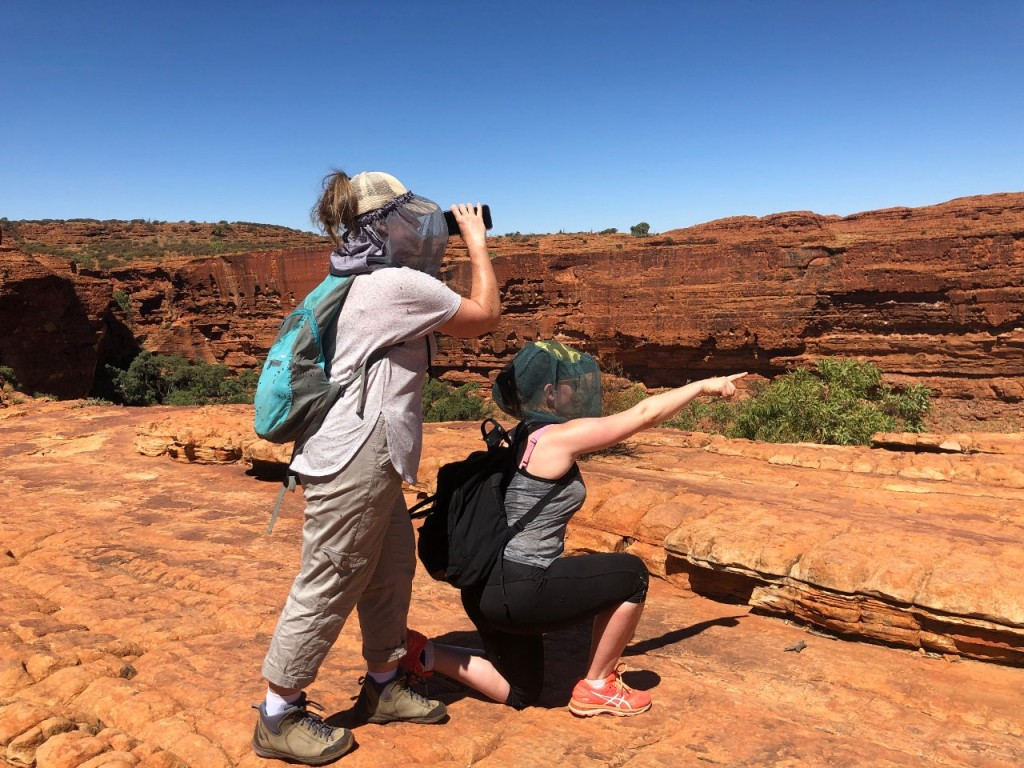 Kris and Steff doing a re-enactment of the sign at Kings Canyon, Watarrka National Park NT