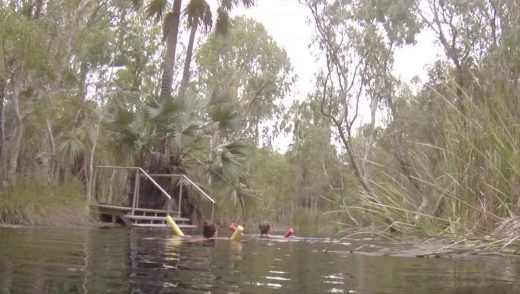 Kris and Steff swimming down Bitter Springs, Mataranka NT